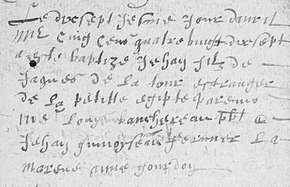 DE LA TOUR Jehan - B - 1597-04-17 - La Tourlandry - estranger de la petitte Egipte